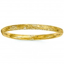 Diamond Cut Hinged Floral Bangle Bracelet 14k Yellow Gold