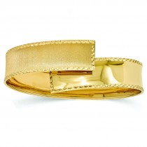 Polished & Satin Flexible Wide Cuff Bangle Bracelet 14k Yellow Gold