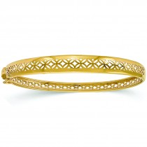 Polished Hinged Cut-Out Design Bangle Bracelet 14k Yellow Gold