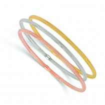 Tri-Color Set Of 3 Stackable Bangle Bracelets 14k Multi-Tone Gold