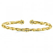Twisted & Hinged Torque Bangle Bracelet 14k Yellow Gold