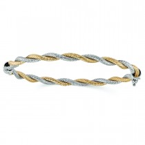 Twisted & Hinged Cable Bangle Bracelet in 14k Two-Tone Gold