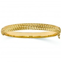 Textured-Finish 10mm Wide Hinged Bangle Bracelet 14k Yellow Gold