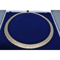 Flexible Graduated Woven Collar Luxe Necklace 14k Two-Tone Gold