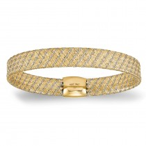 Flexible Woven Stretch Luxe Bangle Bracelet 14k Two-Tone Gold