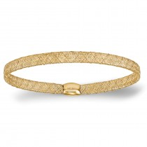 Fancy Mesh & Flexible Stretch Bangle Bracelet 14k Yellow Gold