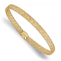 Fancy Mesh & Flexible Stretch Bangle Bracelet 14k Yellow Gold|escape