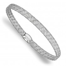 Fancy Mesh & Flexible Stretch Bangle Bracelet 14k White Gold