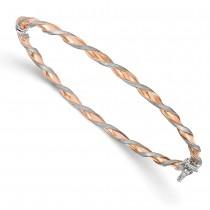 Polished & Brushed Twisted Bangle Bracelet 14k Two-Tone Gold