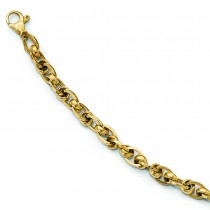 Fancy Polished Oval & Round Cable Link Bracelet 14k Yellow Gold