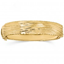 Textured Diamond-cut Hinged Wide Bangle Bracelet 14k Yellow Gold
