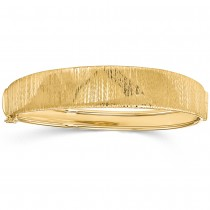 Polished & Textured Graduated Hinged Bangle Bracelet 14k Yellow Gold