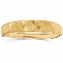 Polished & Textured Graduated Hinged Bangle Bracelet 14k Yellow Gold