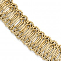 Polished & Textured Herakles Fancy Knot Chain Bracelet 14k Yellow Gold