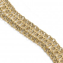 Fancy Polished & Textured Wide Chain Link Bracelet 14k Yellow Gold