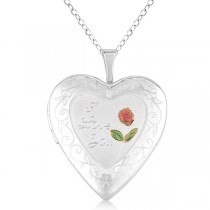 Heart Shaped I Love You Necklace Locket w/ Flower Sterling Silver