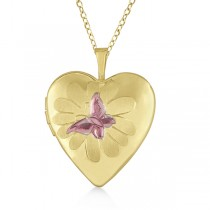 Heart Shaped Butterfly Design Pendant Locket w/ Flower Gold Vermeil