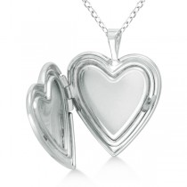Heart Shaped Butterfly Design Pendant Locket w/ Flower Sterling Silver