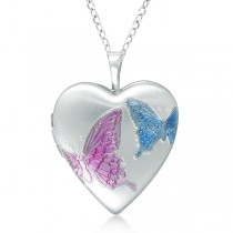 Heart Shaped Butterfly Design Pendant Locket Sterling Silver