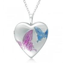 Heart Shaped Butterfly Design Pendant Locket Sterling Silver