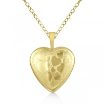 Photo Locket Pendant Necklace w/ Hearts Engraving Gold Vermeil