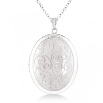 Vintage Oval Filigree Design Pendant Locket Necklace Sterling Silver