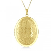 Vintage Oval Filigree Design Pendant Locket Necklace Gold Vermeil