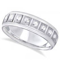 Satin Finish Fancy Carved Wedding Ring For Men 14k White Gold (7mm)