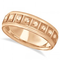 Satin Finish Fancy Carved Wedding Ring For Men 18k Rose Gold (7mm)