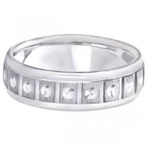 Satin Finish Fancy Carved Wedding Ring For Men Platinum (7mm)