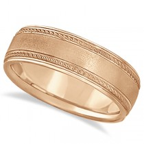 Matt Finish Men's Wedding Ring Milgrain 18k Rose Gold (7mm)