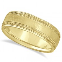 Matt Finish Men's Wedding Ring Milgrain 18k Yellow Gold (7mm)