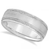 Matt Finish Men's Wedding Ring Milgrain Palladium Gold (7mm)