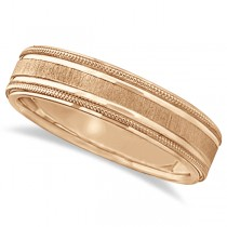 Carved Edged Milgrain Wedding Ring in 14k Rose Gold (5mm)