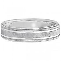 Carved Edged Milgrain Wedding Ring in 14k White Gold (5mm)