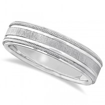 Carved Edged Milgrain Wedding Ring in 18k White Gold (5mm)