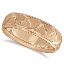 Men's Carved Groove Wedding Band in 14k Rose Gold (7mm)