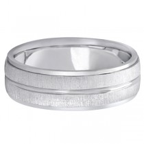 Modern Carved Wedding Band For Men in 18k White Gold (7mm)|escape