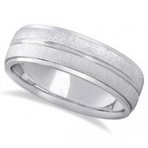 Modern Carved Wedding Band For Men in Platinum (7mm)