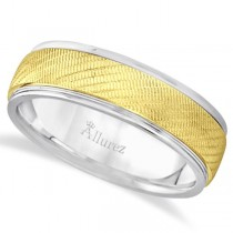 Diamond Cut Wedding Band For Men 18k Two Tone Gold (7mm)