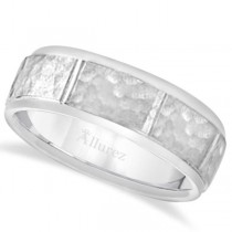 Men's Hammered Wedding Ring Wide Band 14k White Gold (7mm)