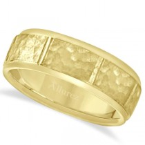Men's Hammered Wedding Ring Wide Band 18k Yellow Gold (7mm)