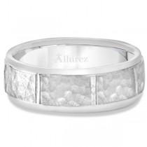 Men's Hammered Wedding Ring Wide Band Platinum (7mm)