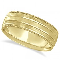 Milgrain Edge Satin Finish Wedding Ring Band 14k Yellow Gold (6mm)