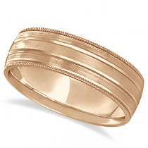 Migrain Edge Satin Finish Wedding Ring Band 18k Rose Gold (6mm)