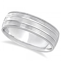 Milgrain Edge Satin Finish Wedding Ring Band 18k White Gold (6mm)