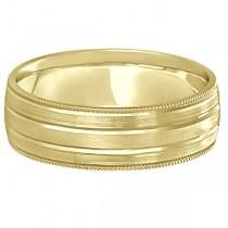 Milgrain Edge Satin Finish Wedding Ring Band 18k Yellow Gold (6mm)