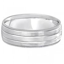 Milgrain Edge Satin Finish Wedding Ring Band Platinum (6mm)
