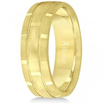 Contemporary Carved Mens Unique Wedding Ring 14k Yellow Gold (6mm)