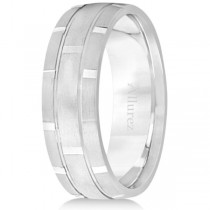 Contemporary Carved Mens Unique Wedding Ring 18k White Gold (6mm)